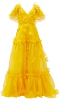 Dundas Floral-applique Tiered Silk-organza Gown - Womens - Yellow