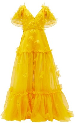 Dundas Floral-applique Tiered Silk-organza Gown - Yellow