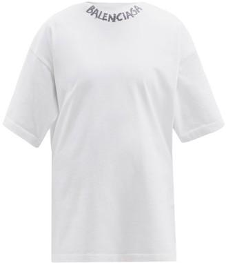 Balenciaga Graffiti-print Cotton-jersey T-shirt - White Black