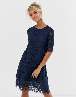Glamorous midi dress with lace overlay-Navy