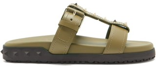 Valentino Rockstud Leather Slides - Khaki