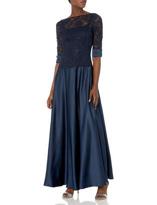 JS Collections Women's Combination Lace and Satin Dress with Stretch Lace Top Satin Cuffs and Drop Waist Into A Satin Skirt