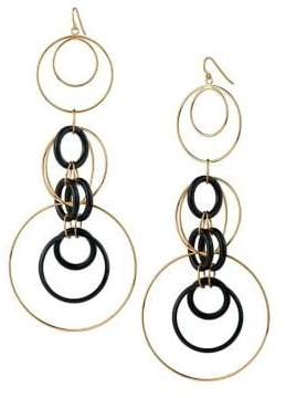 Gold And Honey Thin Lucite Long Drop Earrings