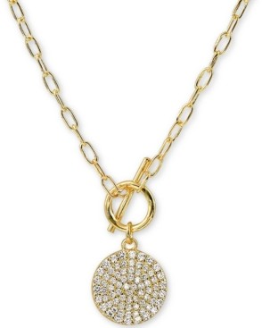 "Argentovivo Cubic Zirconia Pave Disc 16"" Pendant Necklace in 18k Gold-Plated Silver"