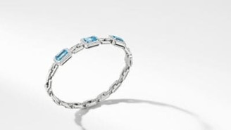 David Yurman Novella Three Stone Bracelet With Blue Topaz And Pave