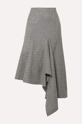 Balenciaga Asymmetric Checked Wool-jacquard Midi Skirt - Gray