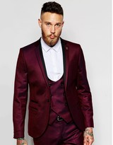 Noose & Monkey Tuxedo Suit Jacket With Stretch In Skinny Fit - Red