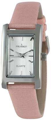 Peugeot Women's Classy Silver H Rectangle Case Watch Nylon Canvas Pastel Peach Band 3008SPC