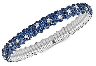Zydo Stretch 18K White Gold, Blue Sapphire Diamond Bracelet