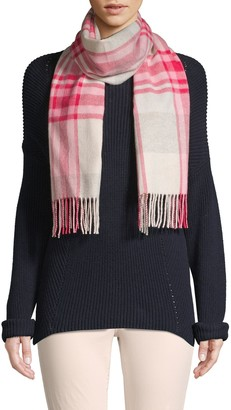 Cashmere Saks Fifth Avenue Grid Plaid Cashmere Scarf
