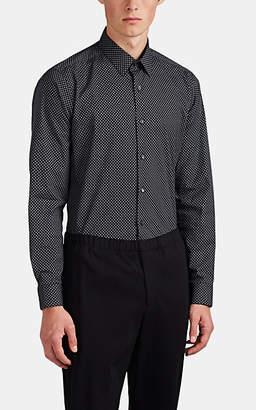 Theory Men's Sylvain Geometric-Print Cotton Poplin Shirt - Black