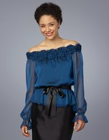Belted Rosette Off-The-Shoulder Blouse