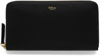 Mulberry 8 Card Zip Around Wallet Black Small Classic Grain