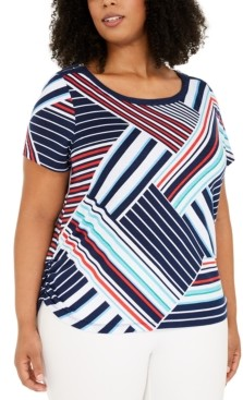 Alfred Dunner Plus Size Ship Shape Tipped T-Shirt