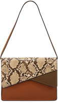 French Connection Remy Snake-Embossed Clutch Bag, Nutmeg/Nude/Snake