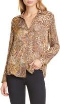 L'Agence LAGENCE Nina Leopard & Paisley Print Silk Blouse