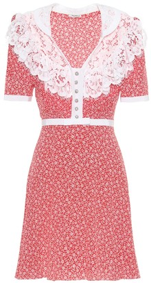 Miu Miu Lace-trimmed floral silk dress