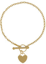 Lord & Taylor 14K Yellow Gold Heart Toggle Bracelet