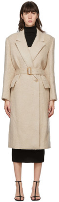 DRAE Beige Wool Raw Edge Coat