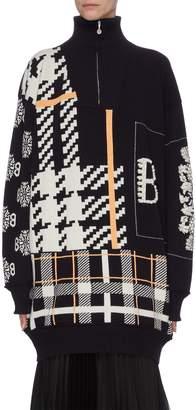 Barrie Mix pattern cashmere half-zip turtleneck sweater