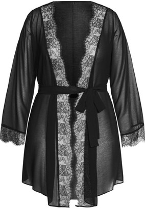 City Chic Becca Short Robe - black