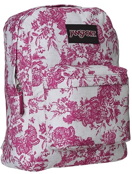 JanSport Black Label Superbreak (Berrylicious Vintage Floral Canvas) - Bags and Luggage