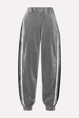 NO KA 'OI No Ka'oi NO KA'OI - Attitude Striped Metallic Jersey Track Pants - Silver