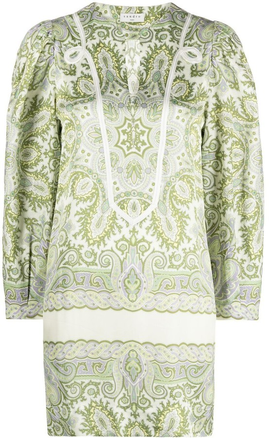 Sandro Paisley-Print Shift Dress