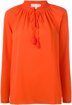 MICHAEL Michael Kors embroidered lace-up detail blouse - women - Polyester/Spandex/Elastane/Viscose - M