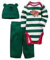 Gerber Baby Boys' 3 Piece Long Sleeve Bodysuit, Pant and Cap Set Green Bear
