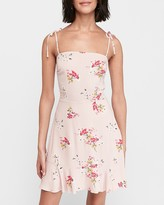 Express Floral Ruffle Hem Fit And Flare Dress