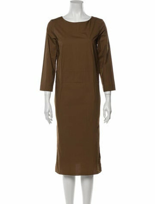 Marni Bateau Neckline Midi Length Dress Brown