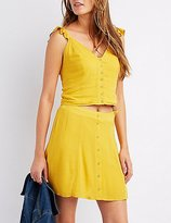 Charlotte Russe Ruffle-Trim Button-Up Tank Top