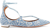 Aquazzura Christy Embroidered Denim Point-toe Flats - Light denim
