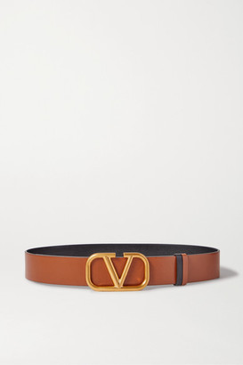 Valentino Garavani Vlogo Reversible Leather Belt - Brown