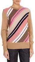 Victoria Beckham Crewneck Long-Sleeve Multi-Yarn Chunky-Knit Wool-Blend Sweater