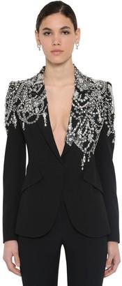 Alexander McQueen Embellished Leaf Crepe Blazer Jacket