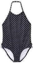 Ralph Lauren Girls' Dotted & Ruffled One-Piece Swimsuit - Little Kid