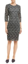 St. John Plume Embroidered Guipure Lace Dress
