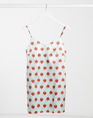 Tara Khorzad mini cami dress in strawberry print satin