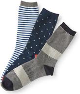 3-Pack Dot & Stripe Crew Socks
