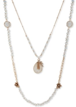 "lonna & lilly Gold-Tone Crystal & Stone Double-Row Beaded Necklace, 36"" + 3"" extender"