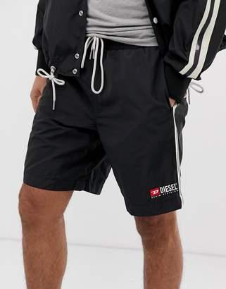 Diesel P-Boxie taped logo shorts in black