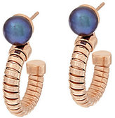 Honora As Is Cultured Pearl Tubogas Round Bronze Hoop Earrings