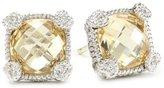 "Judith Ripka Linen"" Yellow Small Cushion Stone Stud Earrings"