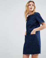 NATIVE YOUTH Denim Raw Edge Dress