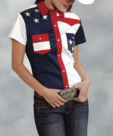 Roper Blue Patriotic Pocket Short-Sleeve Button-Up