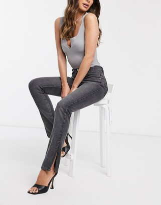 Femme Luxe high waist side split straight leg jean in grey black