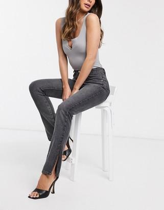 Femme Luxe high waist side split straight leg jean in grey black