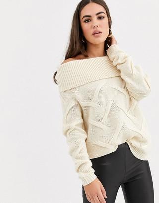 Vila off shoulder cable knit jumper-Beige